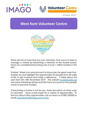 Volunteering Newsletter October 2019